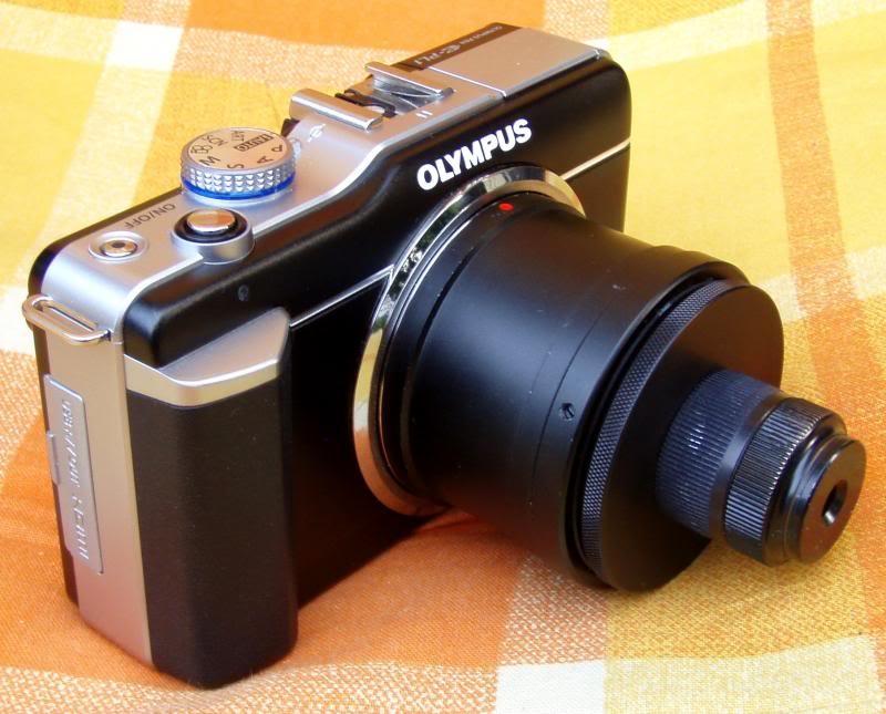 Mikroskop objektiv am kamera.