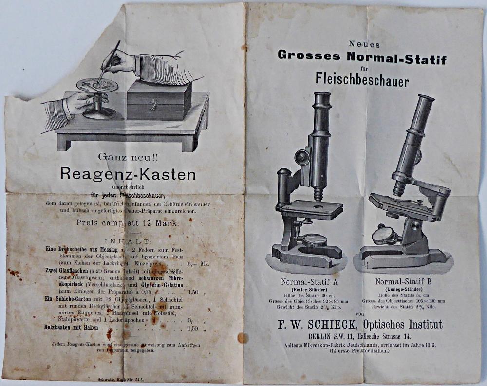 Trichinenmikroskop um 1900 von f. w. schieck berlin